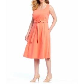 カルバンクライン レディース ワンピース トップス Plus Size Square Neckline Sleeveless Fit and Flare Midi Dress Porcelain Rose