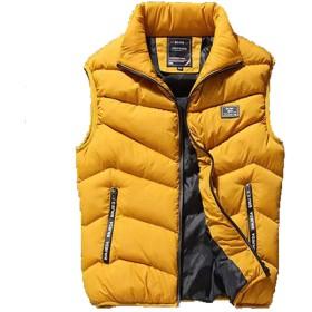 アイビエツ(AIBIETU) ダウンベスト メンズ 無地 大きいサイズ カジュアル 秋 冬 春 軽量 防寒 立ち襟 ベスト アウトドアウェア (3XL, イエロー)