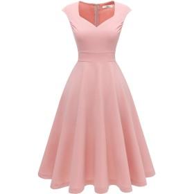 Homrain ノースリーブワンピース 結婚式 ワンピース 膝丈 Aライン パーティードレス レトロワンピース 大きいサイズ ドレス レディース ピンク XLサイズ
