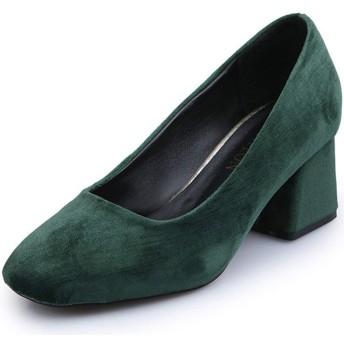 [メロガティア] パンプス スクエアトゥ 立ち仕事 通勤 痛くない 歩きやすい 美脚効果 通勤 フォーマル 緑 24.5cm