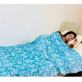 軽量タイプふんわり 柔らか マシュマロ タッチ フランネル 毛布 シングル サイズ ダマスク柄 ブルー