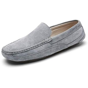 HYFJP ドライビングシューズ メンズ ローファー 軽量 通気 脱着簡単 シンプル 素足 靴 (Color : グレー, サイズ : 24 CM)