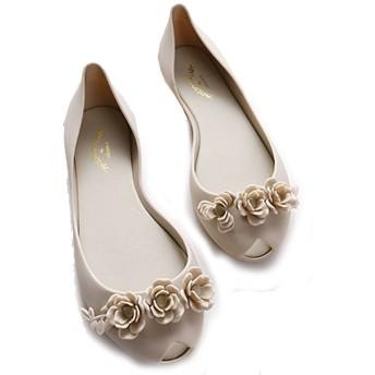 Spinas(スピナス) レディース 靴 バレエシューズ フラワー パンプス ぺたんこ靴 フラット ウィメン バレエシューズ フラットシューズ らくちん 23.5 24 24.5 25 大きいサイズ 全4色(ブラック ローズピンク ベージュ ホワイト) (39, ホワイト)
