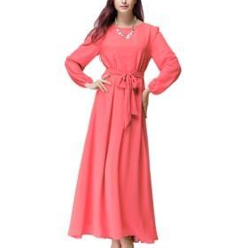 yacun女性ロングスリーブスウィングのイスラム教徒のガウンのマキシドレスパーティーの仕事 Red YMY10007-Red-XL