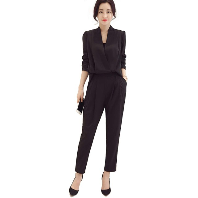FREIE LIEBE(フレイリビ) スーツパンツ 上下 セットアップ スーツセット ビジネススーツ フォーマル スーツ 入学式 卒業式 2点セット オフィス オールインワン レディース 女性 エレガント (S, ブラック・長袖)
