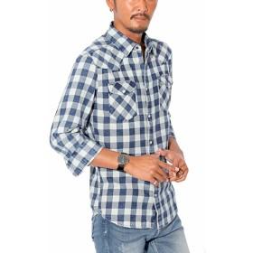 LUX STYLE(ラグスタイル) デニムシャツ チェックシャツ メンズ 7分袖 ウエスタン 春 ブロックネイビーM
