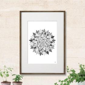 イラスト アート グラフィック ポスター 北欧 春 花 フラワー ボタニカル モノトーン 3804