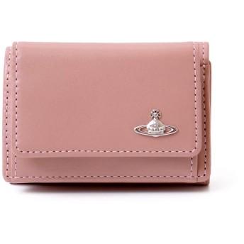 [名入れ可] ヴィヴィアンウエストウッド Vivienne Westwood 三つ折り 財布 本革 ヴィンテージ WATER ORB 小銭入れあり 3318M1J ショップバッグ付き (名入れなし, ピンク)