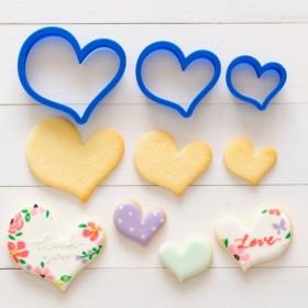 デザインハート3点セットクッキー型・クッキーカッター