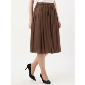 【THE SUIT COMPANY:スカート】<ハンドウォッシュ>【Littlechic】ヴィンテージサテン ギャザーフレアスカート