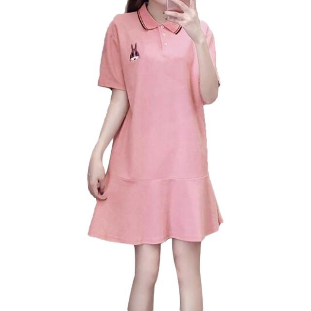 GuDeKe レディース シャツワンピース 半袖 tシャツ ロング poloネック 夏 マーメイドスカート プルオーバー 薄手 カジュアル 着痩せ ゆったり 可愛い 学院風 お洒落 ピンク2XL