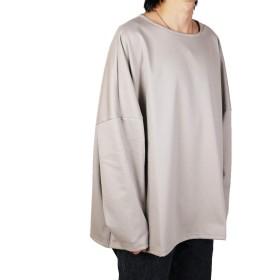 WEARBAR ドロップショルダービッグロンT メンズ ビッグ 長袖 ロンT フリーサイズ ゆったり 無地 (フリーサイズ, グレー)