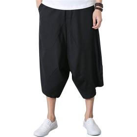 [リュハイ] メンズ リネン ハレムパンツ 七分丈 カジュアルパンツ ワイドレッグパンツ ブラック4XL