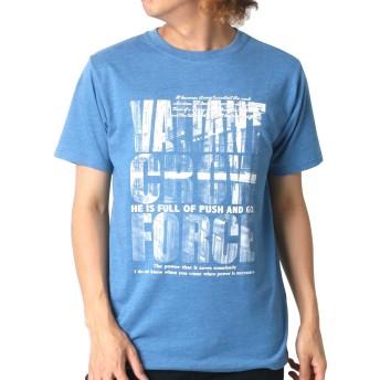 [オブロ] Tシャツ フォト ロゴ プリント 半袖 メンズ 柄6:(ボディ:ブルー/ロゴ:VALIANT) Lサイズ:(身丈71cm 肩幅44cm 身幅53cm 袖丈22cm)