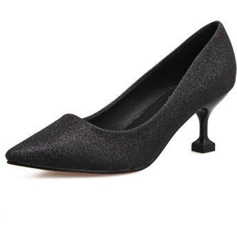 [ファッション_フロント] パンプス ハイヒール ピンヒール ポインテッドトゥ 美脚 ソフトクッション 靴 レディース ビジネス 結婚式 パーティー(ブラック 24.5cm (39))
