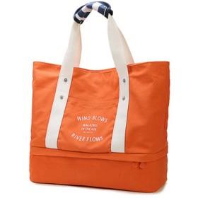 iSuperb トートバッグ ハンドバッグ 帆布 手提げバッグ 旅行かばん 旅行バッグ シューズ収納 折り畳み 多機能 大容量 5色入り (オレンジ)