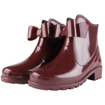 [DEBLE] レインシューズ レディース レインブーツ ショートブーツ 5cmヒール おしゃれ 防水 雨靴 梅雨対策 歩きやすい 大きいサイズ ブラック ピンク レット (245, ワインレッド)