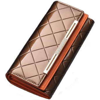 [Rockyu] 長財布 レディース 大容量 ゴールド 革 本皮 ブラウン 財布 二つ折り オレンジー 黒 赤 青 茶 折りたたみ たっぷり 収納 上品 大人 型押し (金)