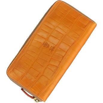 (フェリージ) felisi 財布 メンズ 長財布 オレンジ イエロー クロコ型押しレザー ラウンドジップ 125/SA