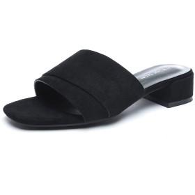 [ZUYEE] (ズイェ) レディース ミュールサンダル ローヒール スエード リゾート靴 お出かけ カジュアル ブラック 23.0cm
