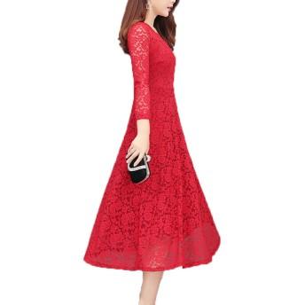 [ココチエ] ワンピース ドレス 黒 赤 リボン ワンショルダー レース フレア Aライン ロング 長袖 (赤, XL)