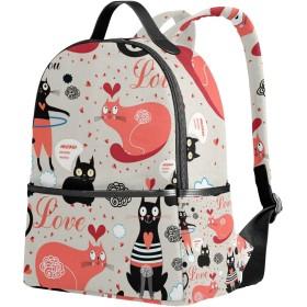 リュック おしゃれ レディース 大容量 軽量 猫柄 告白しよう 恋愛 ラブ ピンク リュックサック 通学 多機能 プレゼント対応