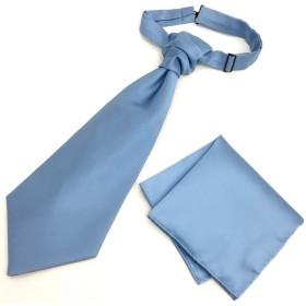バロックタイ ポケットチーフ セット ユーロタイ アスコットタイ レインボー12色バリエーション MISAKO (サックス【vp180129】)