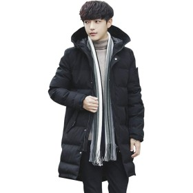 AGOWOO ダウンジャケット メンズ 男性 コート 冬 防寒 中長セクション 厚くする フード付き
