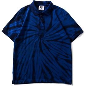 Pizoff(ピゾフ) メンズ タイダイ ポロシャツ 半袖 スウェット 原宿系 ゆったり 男女兼用 Tシャツ 夏AC184-02-L
