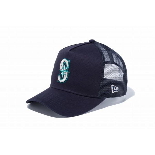 【ニューエラ公式】 9FORTY D-Frame トラッカー シアトル・マリナーズ ネイビー × チームカラー メンズ レディース 55.8 - 59.6cm MLB キャップ 帽子 12018958 NEW ERA メッシュキャップ