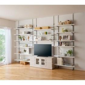 お好きな位置で棚板固定 壁面ラック - セシール ■カラー:ホワイト ■サイズ:D(幅90/6段)