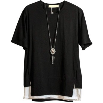 LINGEW Tシャツ メンズ 半袖 無地 原宿風 パーカー おしゃれ 大きいサイズ カットソートップス ゆったり カジュアル プルオーバー ブラック L