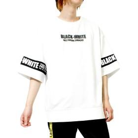 ビッグTシャツ メンズ スウェット 五分袖 ロゴ ライン プリント ドロップショルダー オーバーサイズ カットソー M ホワイト