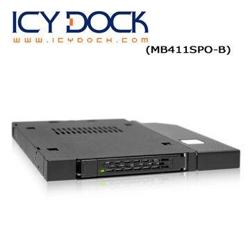 """[富廉網] ICY DOCK MB411SPO-B 2.5"""" SATA/SAS HDD/SSD 一薄型軟/光碟機裝置空間 硬碟抽取盒"""