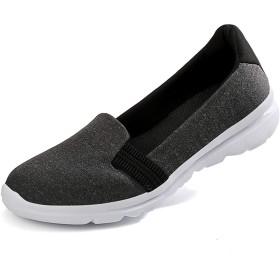 [Fainyearn] レディーススニーカー ナースシューズ スリッポン モカシン 中高齢者シューズ 安全靴 デッキシューズ 婦人靴 お母さん カジュアル 超軽量 ウォキングシューズ 疲れにくい 大きいサイズ ブラック 26.0cm
