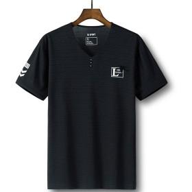 [ノーブランド品] 夏の半袖Tシャツ スリムTシャツ 3つのボタン 男性用 (XL, ブラック2)