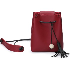 VANTOO ショルダーバッグ ミニポーチ 女性財布 レディース バッグ 軽量 斜めがけ 通勤 通学 旅行 アウトドア レザー (ワインレッド)