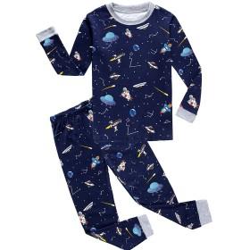 Babyfashion 綿100% 子供パジャマ ルームウェア キッズ  女の子 男の子 上下セット 宇宙船柄  長袖  寝巻き ボーイズ ガール 女児 男児 ベビー  2-9歳 (2歳, 濃紺2)