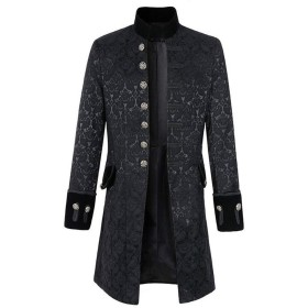 [CAIXINGYI]ヨーロッパ アメリカ スタイル 男性 コート 無地 ファッション 蒸気 パンク レトロ メンズ 制服 パフォーマンス ドラマ ホスト (XXXL, 黒)