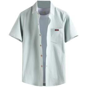 Kenoua シャツ 上着 メンズファッションビジネスレジャー半袖ラティスプリントシャツトップブラウス グレー、ライトブルー、ブラック、ホワイト M,L,XL,2XL,3XL