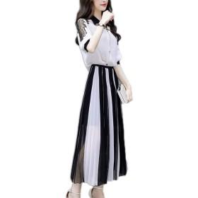 レディーズ 気質のドレス 女性の夏 新しい 韓国語版 ツーピースセット スリムフィット スリム ロングスカート シフォンのスカートスーツ S-2XL (XL
