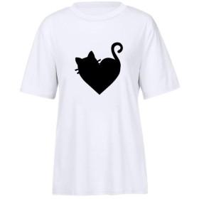 Tシャツ レディース Mimoonkaka 可愛い 春夏 女性 猫柄 犬の足跡柄 創意デザイン 無地 半袖 人気 薄手 快適 吸汗速乾 通勤 上着 普段着 部屋着 体型カバー