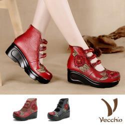 【Vecchio】真皮手工花朵刺繡復古單結坡跟厚底鞋(2色任選)