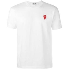 PLAY コムデギャルソン メンズ Tシャツ 半袖 ハート 男女兼用 シンプル スウェット スポーツ トップス 丸首(ホワイト、XXL)