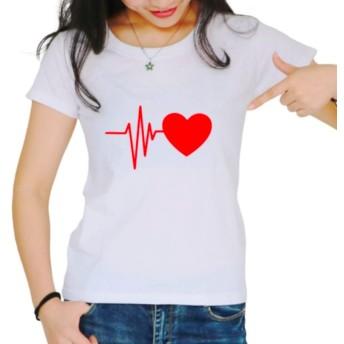 [ブブ オーハナ] Tシャツ 半袖 トップス ハート ハート柄 半袖Tシャツ カットソー カジュアル レディース (白 XL)