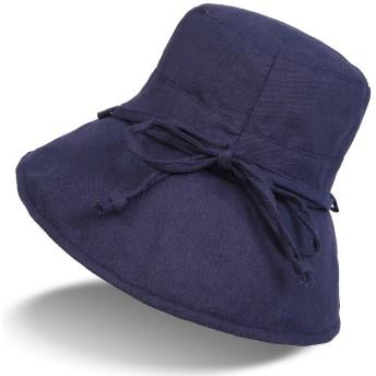 (ハンキンズ)Hankins帽子 レディース UVカット 大きいサイズ 紐付き 折りたたみ 綿麻素材のオシャレな UVハット 紫外線対策 つば広 UV対策 ハット UVカット率最高値UPF50+ (01-ネイビー)