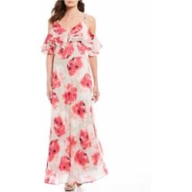 カルバンクライン レディース ワンピース トップス Chiffon Floral Print Popover Cold Shoulder Maxi Dress Khaki Multi