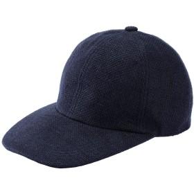 (井上帽子) 折りたためる 麻のキャップ 【 日本製 】( メンズ 帽子 キャップ 野球帽 麻 たためる 丸める 日本製 JAPAN 日除け 日よけ 紫外線 UV 日焼け )IN-HLI002 (ネイビー)