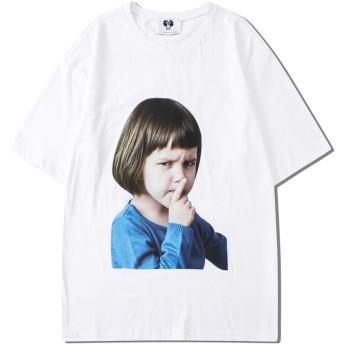 Pizoff(ピゾフ) メンズ 半袖Tシャツ 白 プリント柄 ゆる ファション おしゃれ 男女兼用 ストリート カジュアル 夏服AC190-White-XL