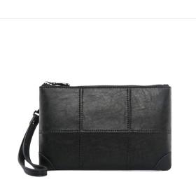 メンズ クラッチバッグ 小さめ PUレザー 柔らかい セカンドバッグ 人気 軽量 手持ちバッグ カジュアル シンプル ブラック 通勤 通学 プレゼント (ブラック)